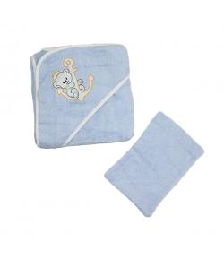 Király G. Frottír fürdőlepedő + mosdókesztyű 75 x 75 cm - Kék
