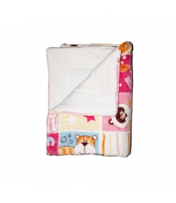 Szőrös takaró béléses - Mintás rózsaszín - Király G.