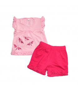 Gi-Gi - Rózsaszín streccspamut felső -sötét pink sorttal 62-es