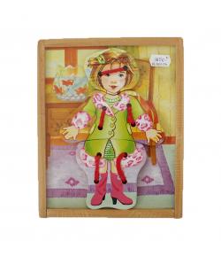 Fa konstrukciós játék - öltöztetős kislány