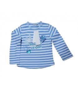 Dodipetto - Kék-fehér csíkos, elől hímzett és nyomott mintával díszített kislány hosszúujjú póló 6 év
