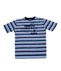 Unic- Sötétkék-v. kék-piros csíkos fiú póló 140-146-os