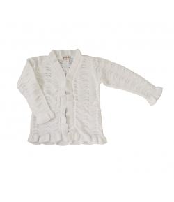 Pirinyó - Fehér hosszú ujjú kislány alkalmi kardigán 104-110-es