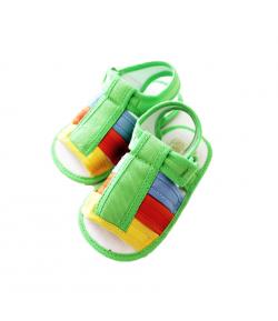 Bobas- Zöld alapon színes textil kocsiszandál