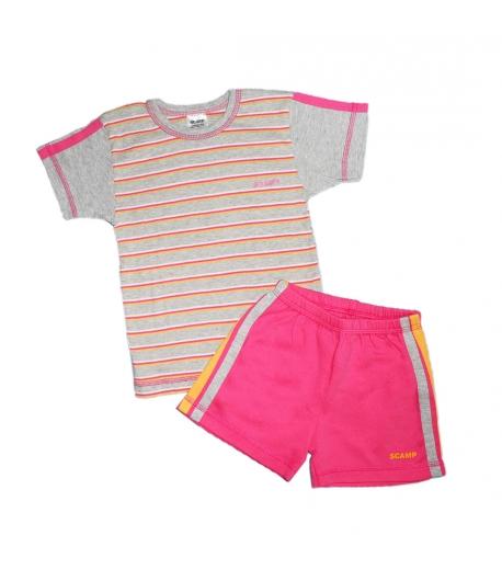 Pink-szürke csíkos kislány kétrészes 110-es