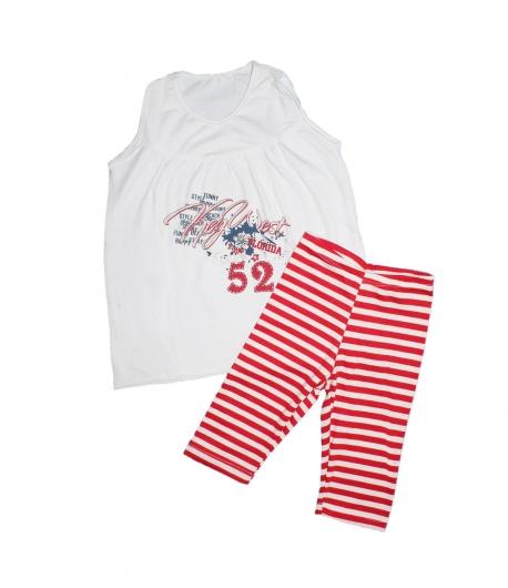 Fehér-piros kislány kétrészes 110-es