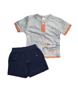 Gi-Gi- Szürke póló narancs színű betéttel- pamut sorttal 86-os
