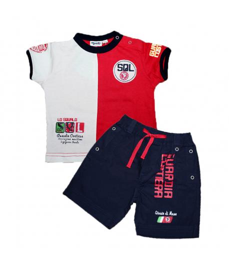 Mignolo- Piros-fehér színű póló sötétkék vászon nadrággal 9-12 hó