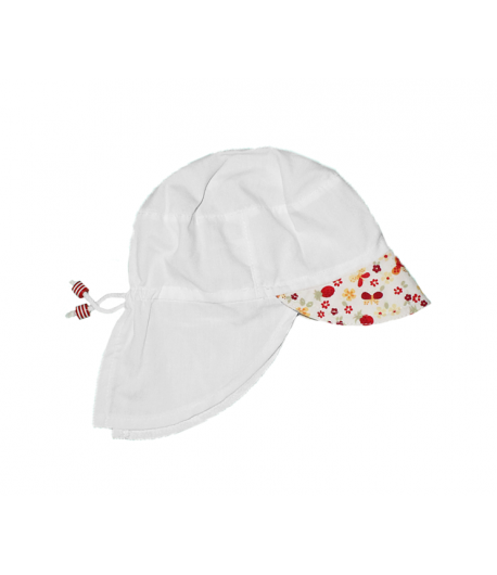 Fehér nyakvédős kislány kalap