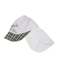 Fehér- zöld nyakvédős fiú kalap