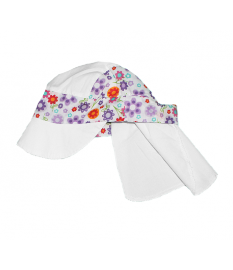 Fehér virágos nyakvédős kislány kalap