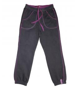 MIkka- Sötétszürke nadrág lila tűzéssel díszített