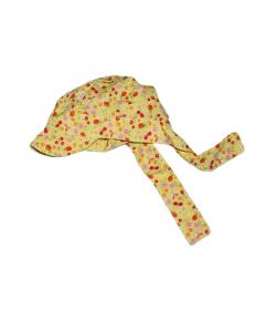 Sárga mintás megkötős kislány kalap