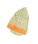 Zöld-sárga csíkos kislány fejkendő