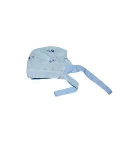 Kék virágos megkötős kislány kalap