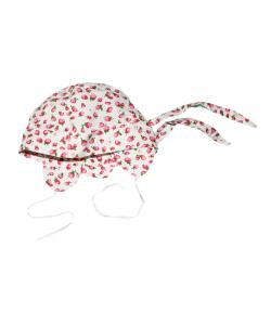 Fehér eper mintás megkötős kislány kalap