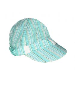 Kék-fehér csíkos megkötős kislány kalap