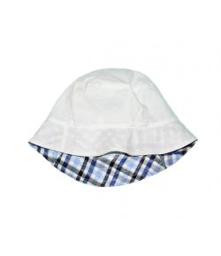 Fehér-kék kockás fiú kalap