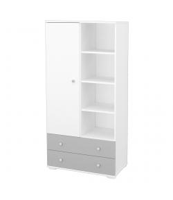 1 ajtós 2 fiókos szekrény - Ezüst-fehér