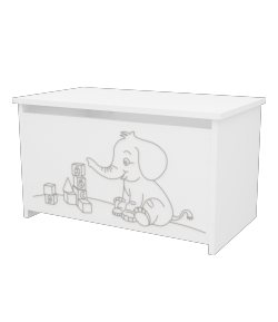 Elefántos játéktároló láda - Fehér