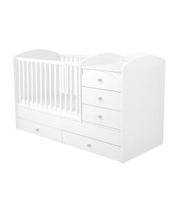 5 fiókos Maxi Kombi kiságy - Fehér 70 x 120-as