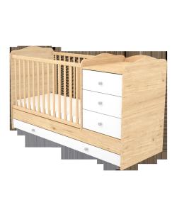 3 fiókos kombinált gyermekágy - Mandula-fehér 60 x 120-as