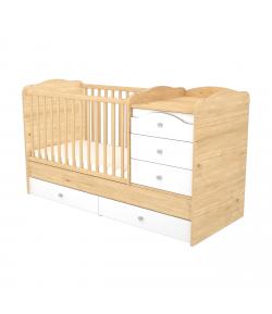 5 Fiókos Maxi Kombi Gyermekágy - Mandula-fehér 70 x 120-as