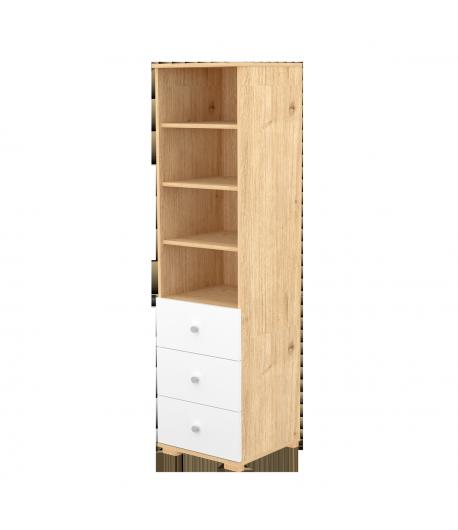 3 fiókos nyitott szekrény - Mandula-fehér