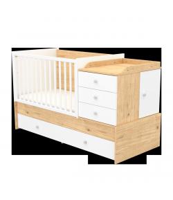 Multikombi gyermekágy - Mandula-fehér 70 x 120-as