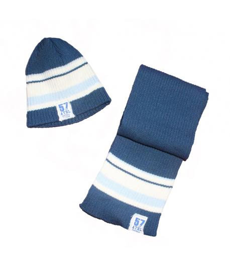 Tuttobimbi KFT- Sötétkék színű, nyers -világios kék csíkkal díszített sapka + sál szett 36 cm