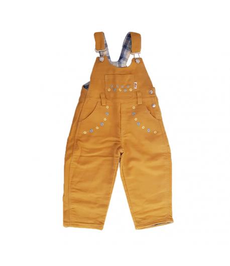 Sárga virágos kantáros kislány bélelt nadrág 86-os