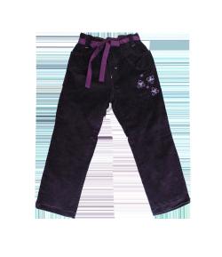 TINDA-Sötétlila alkalmi bársony kislány nadrág, vékony pamuttal bélelt 110-es
