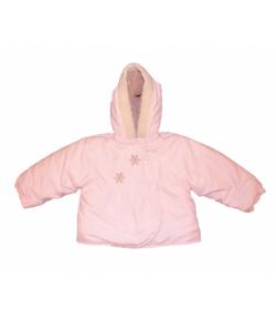 Rózsaszín baby kabát-elől hópelyhes hímzéssel 86-os méret