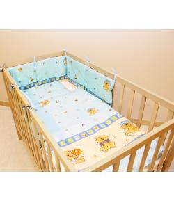 Baby Dream 3 részes baby ágynemű - kék alapon, játszó macis