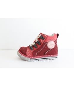Szamos bordó - piros fűzős bokacipő