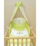 Gyermekágynemű 4 részes muszlin baldachinos - Zsiráf és maci- Zöld