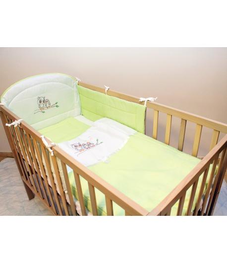 Gyermekágynemű 3 részes - Bagoly - Zöld Kocka