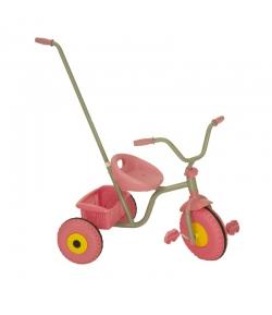 Rózsaszín pedálos tricikli, szülőkarral