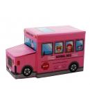Műbőr hatású tárolódoboz buszos pink