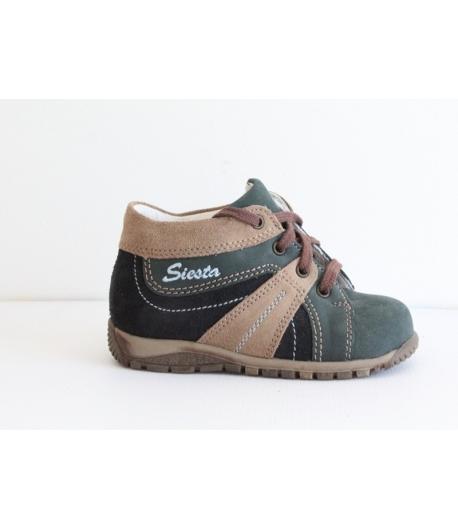 Siesta sötétkék/világos barna magas szárú cipő 22-es fűzős