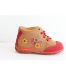 Siesta világos barna/piros Nubuk magas szárú fűzós cipő 21-es