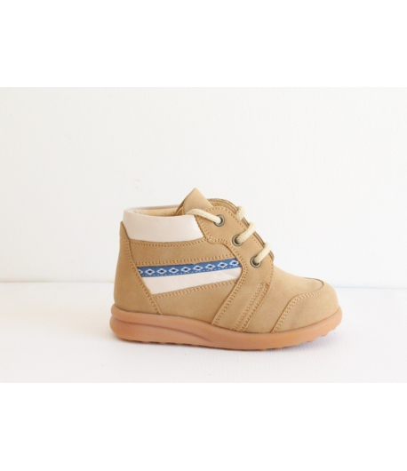 Siesta barna Nubuk cipő - magas szárú fűzős 22-es