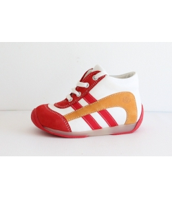 Siesta piros/fehér Nubuk/nappa fűzős magagszárú cipő 22-es