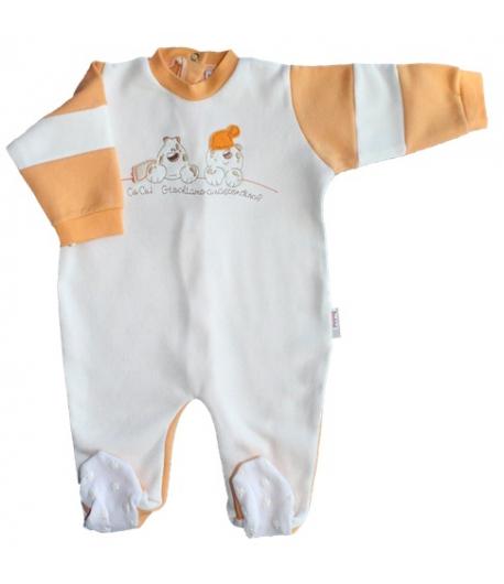 Bambibel lábfejes bolyhos pamut rugdalózó drapp-narancs 56-os