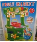 Színes gyümölcs eladópult kiegészítőkkel
