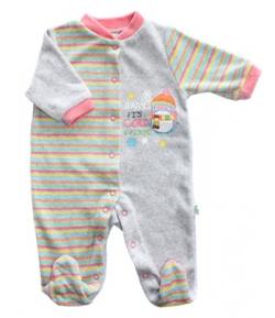 F.S. Baby hosszú ujjú plüss lábfejes rugdalózó