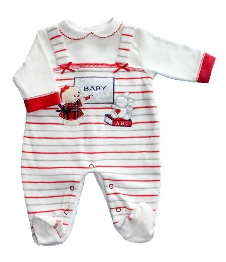 F.S. Baby hosszú ujjú plüss lábfejes rugdalózó 50-es